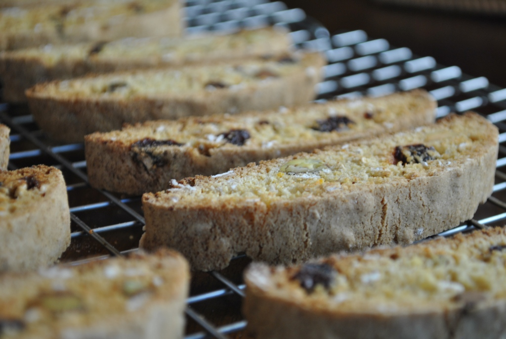 Pistachio and dried cherry biscotti